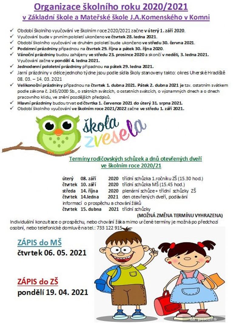 organizace školního roku 2020-21