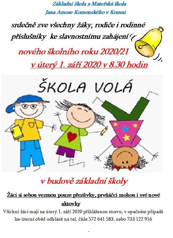 zahájení školního roku 2020-21